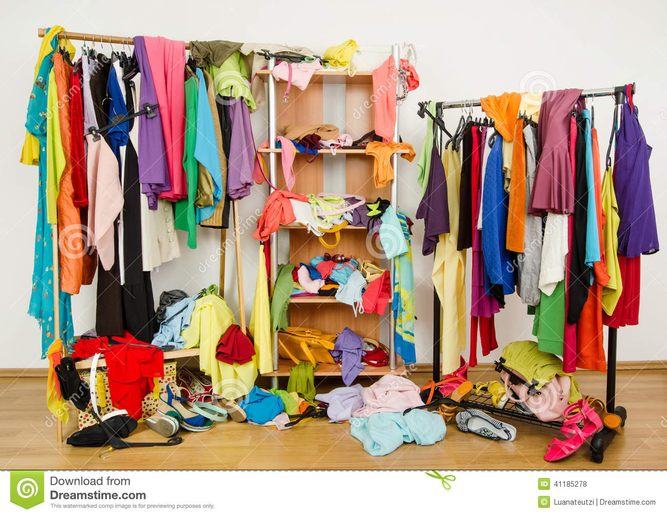 Untidy Cluttered Woman Wardrobe With Colorful Clothes And