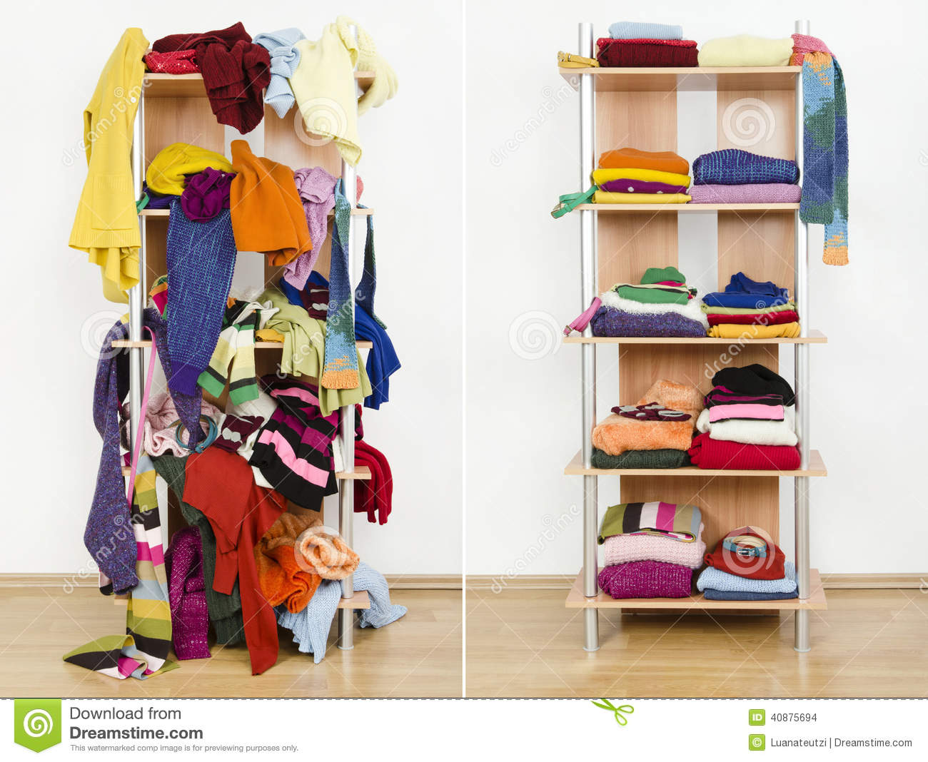 Before Untidy And After Tidy Wardrobe With Colorful Winter
