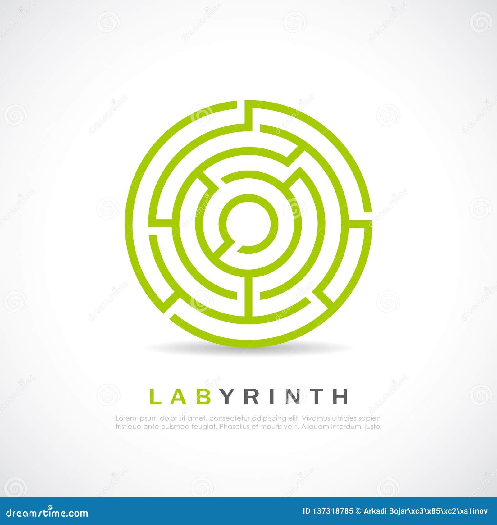 Labyrinth Logo Design With 3D Effect Vector Illustration