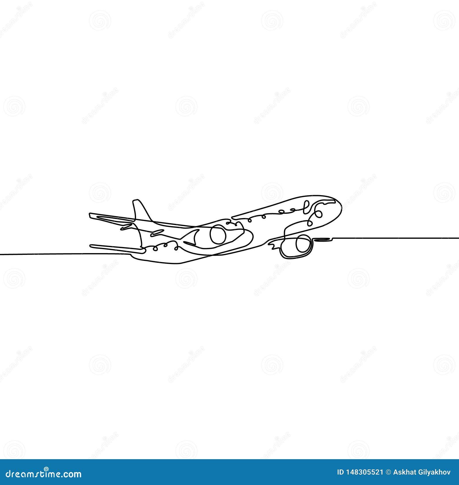 Ununterbrochene Linie Flugzeug lokalisiert auf weißem Hintergrund