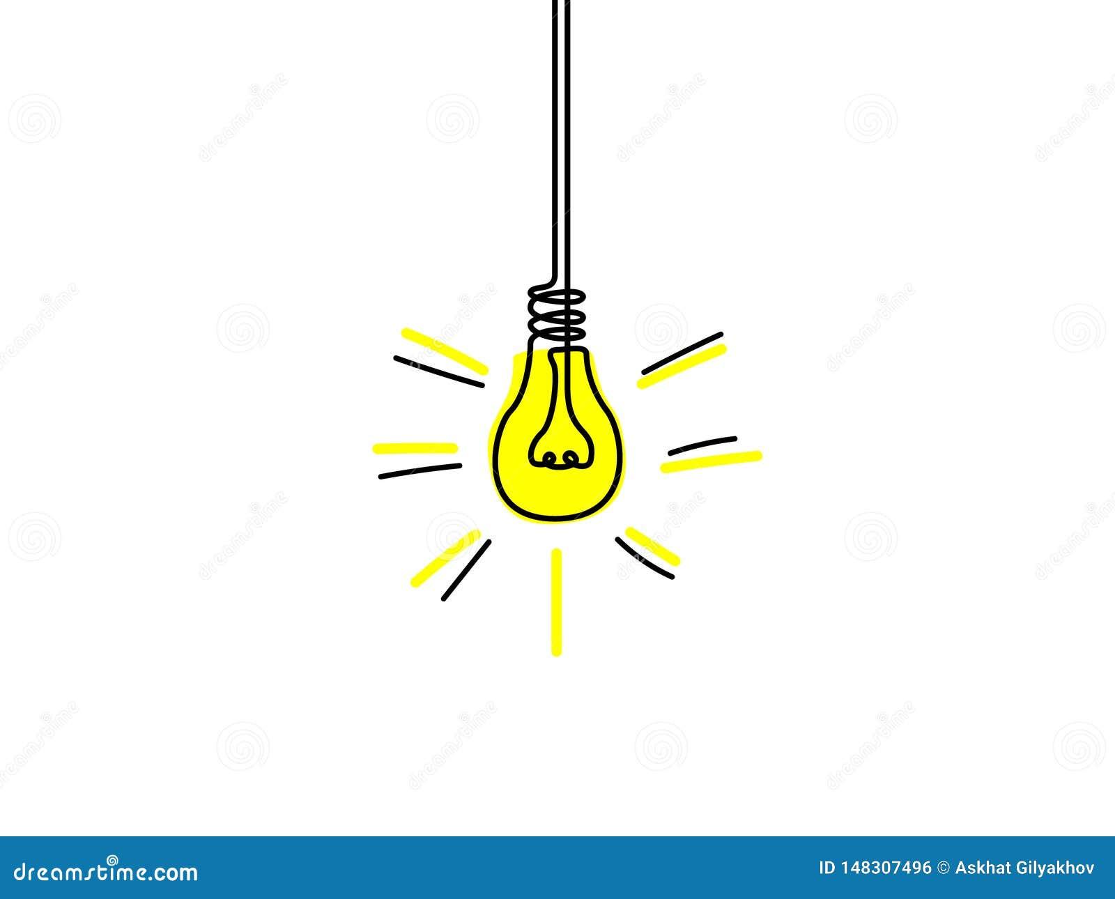 Ununterbrochene Linie gelbe Glühlampe, Ideenkonzept Auch im corel abgehobenen Betrag