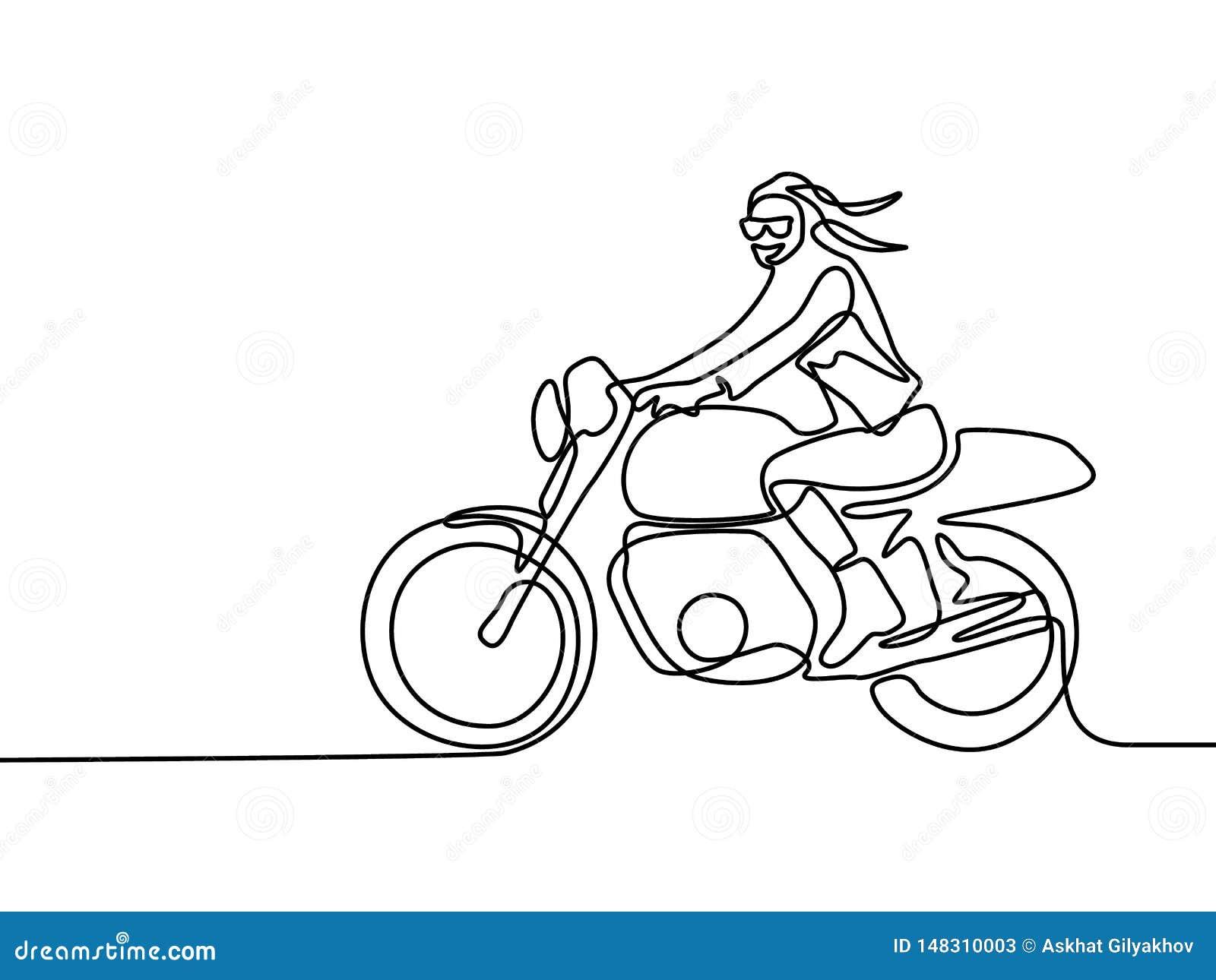 Ununterbrochene Linie lächelndes Frauenreiten auf Motorrad Auch im corel abgehobenen Betrag