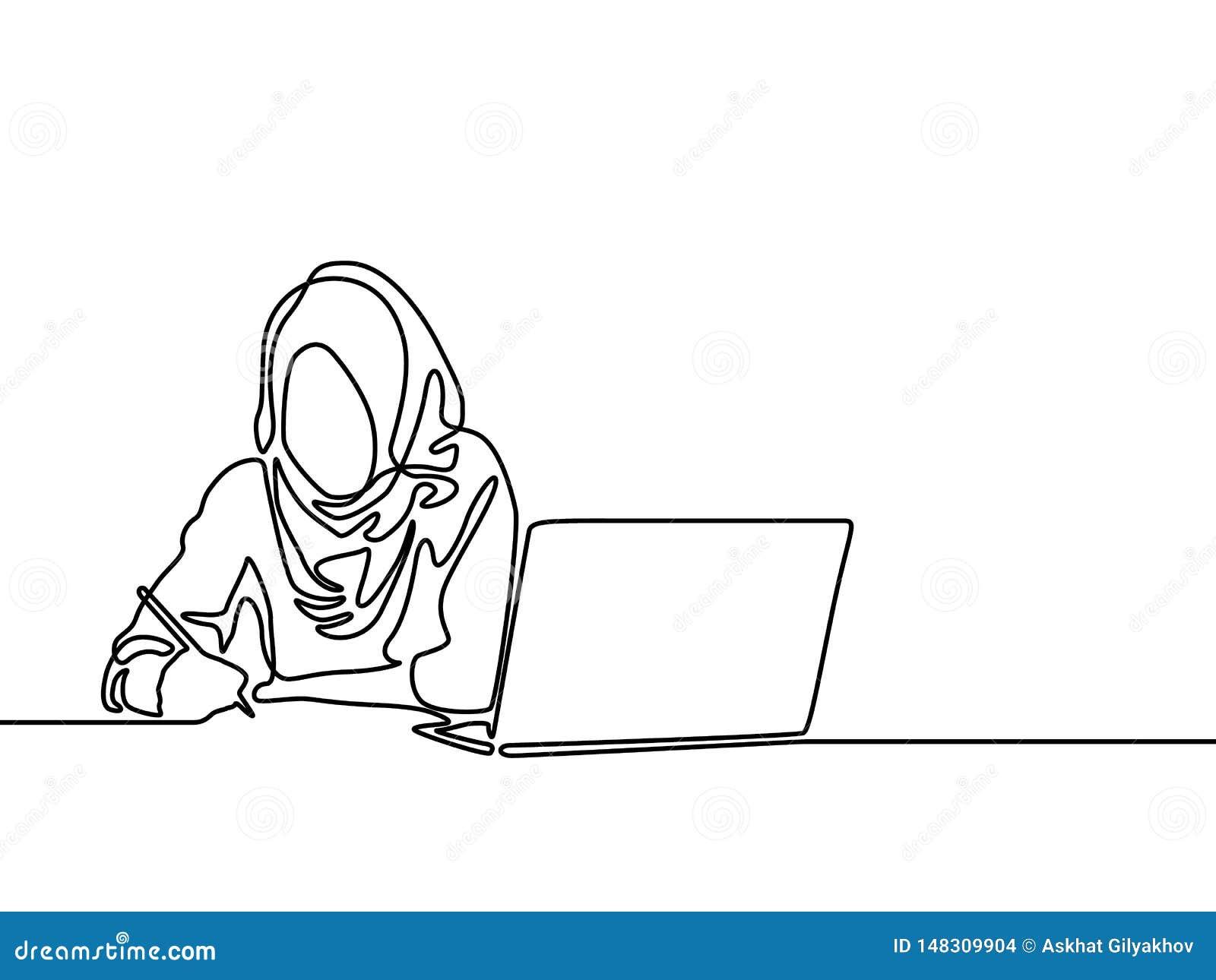 Ununterbrochene Linie moslemische Frau, zum mit Hilfslaptop zu studieren