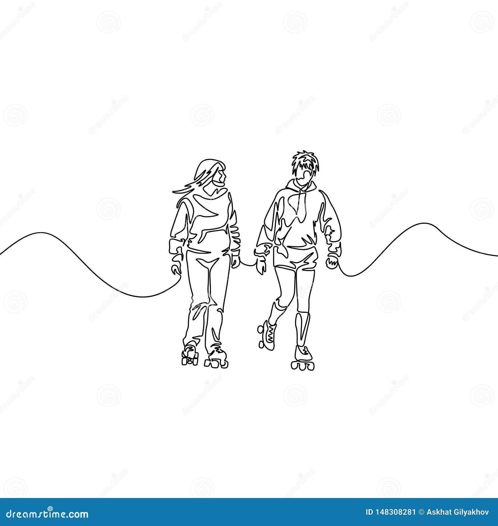 Ununterbrochene Linie rollerblading Freunde Zwei rollerblading Freundinnen Sport, Erholung, Freundschaft, entspannt sich, Hobby