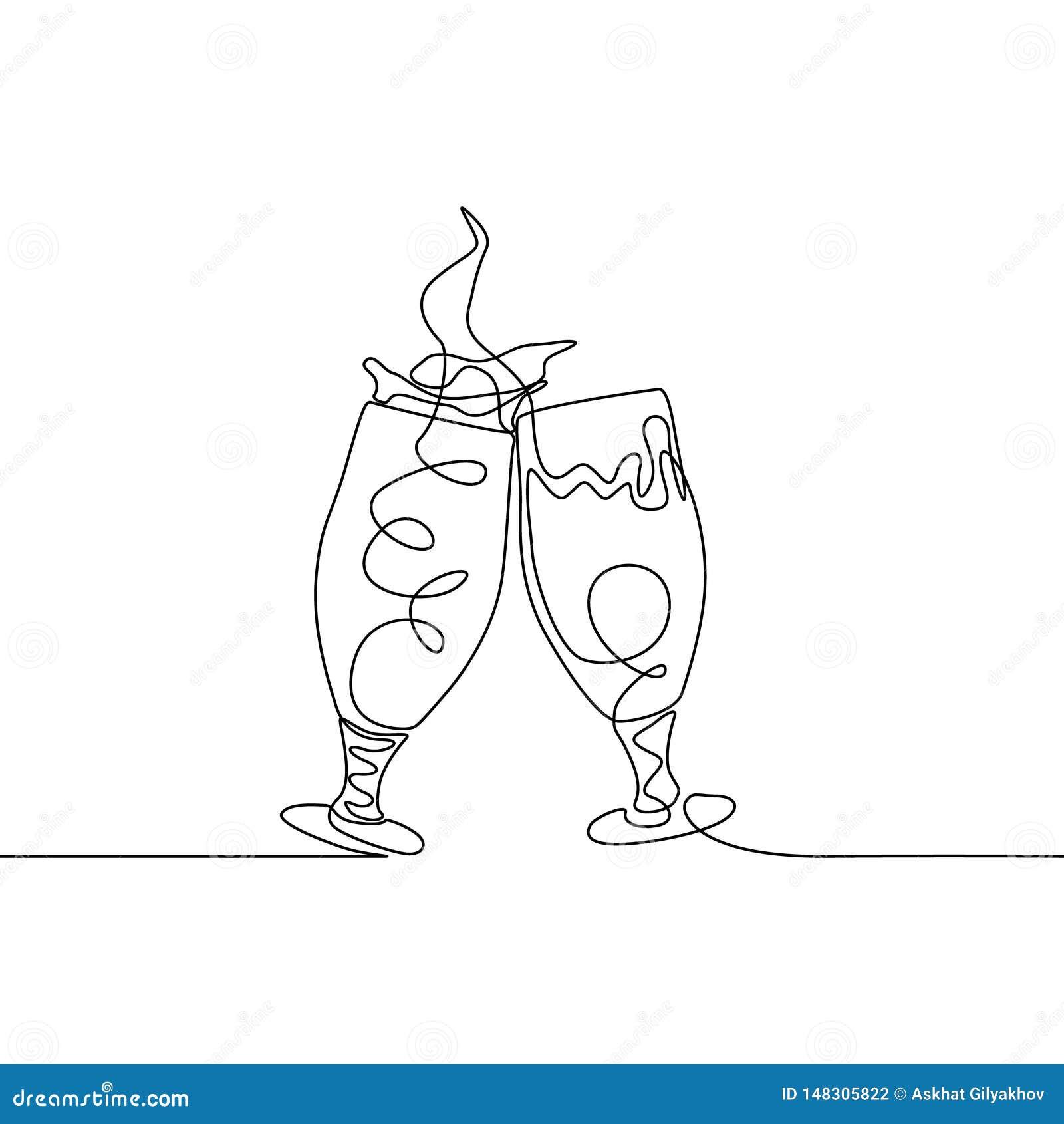 Ununterbrochene Linie zwei klirrende Gläser vom Bier Spritzen herstellend Auch im corel abgehobenen Betrag