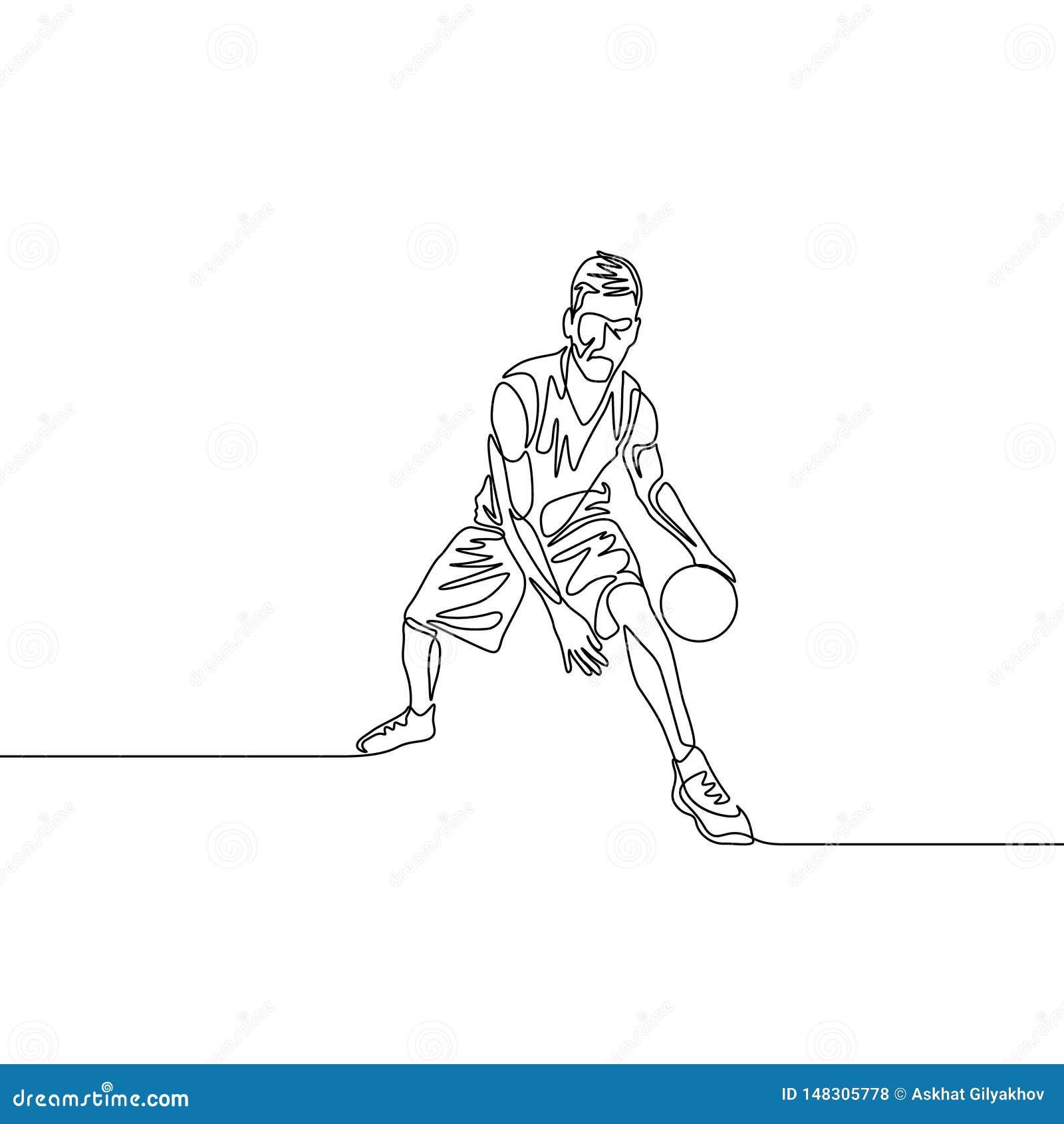 Ununterbrochenes der tröpfelnde Federzeichnungsbasketball-spieler führt den Ball zwischen seine Beine