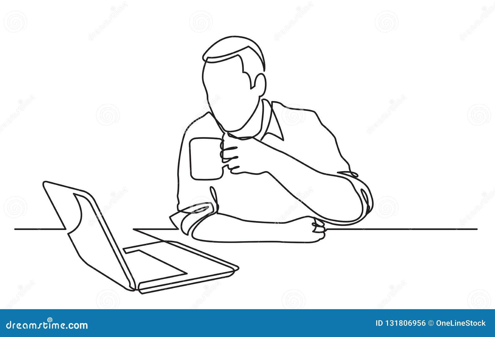 Ununterbrochenes Federzeichnung sitzenden Laptop-Computer des Mannes aufpassenden trinkenden Kaffees
