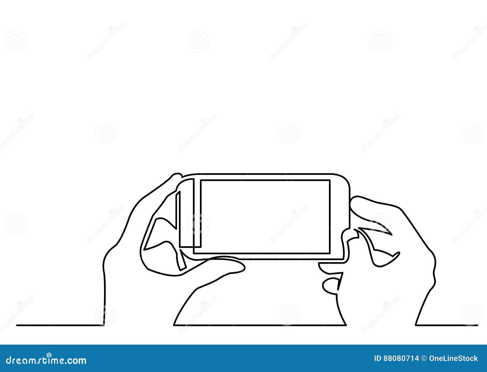 Ununterbrochenes Federzeichnung von den Händen, die Foto auf Smartphone machen