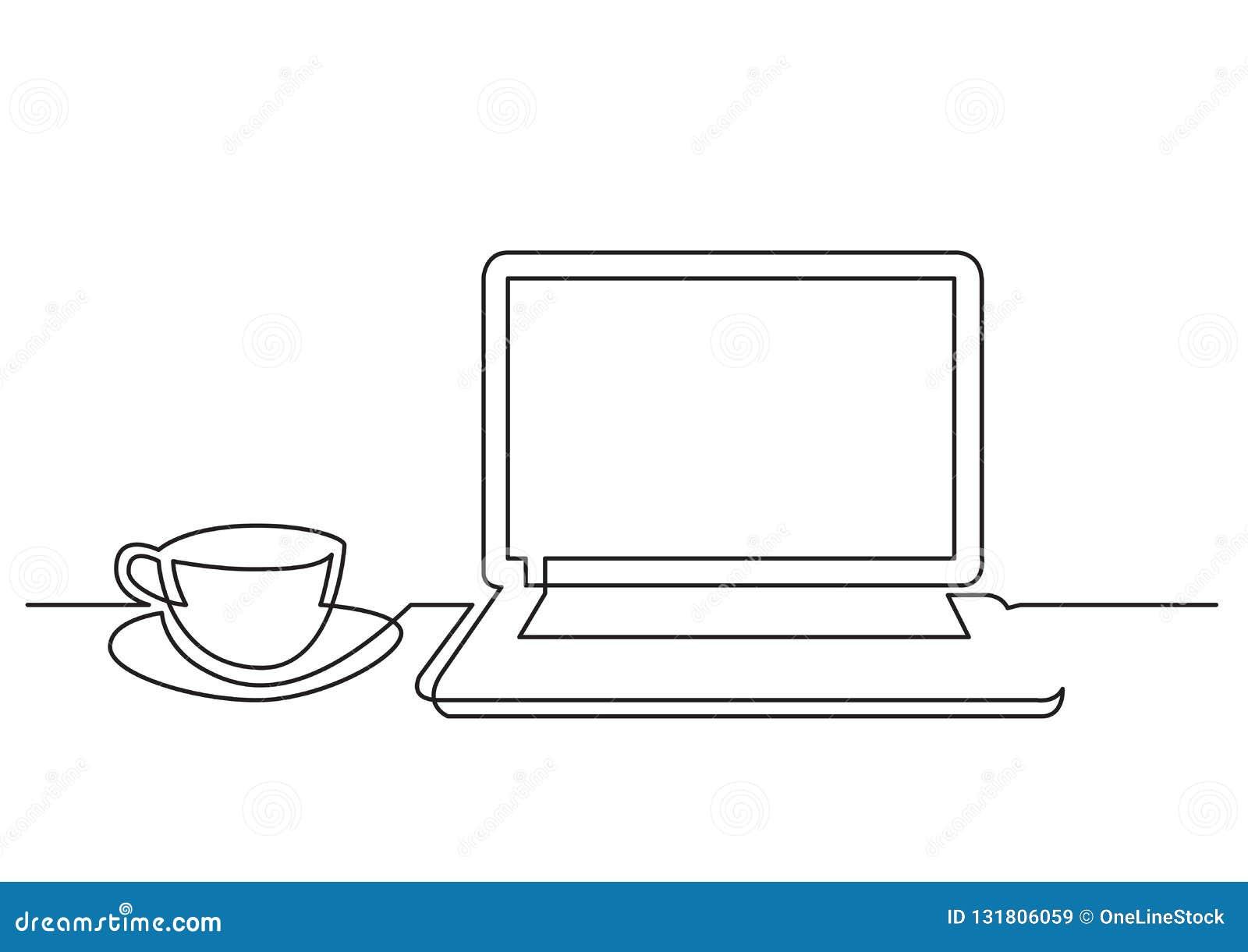Ununterbrochenes Federzeichnung von Laptop-Computer Tasse Tee