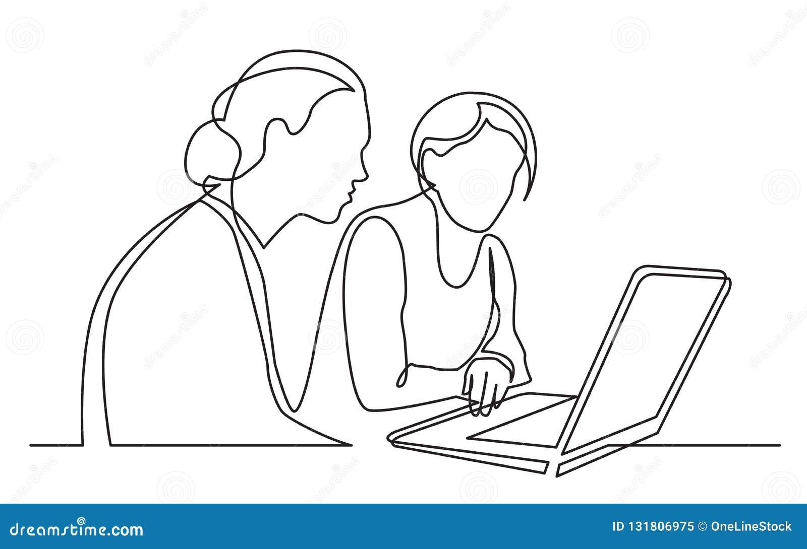 Ununterbrochenes Federzeichnung von zwei Frauen, die Laptop-Computer sitzen und aufpassen