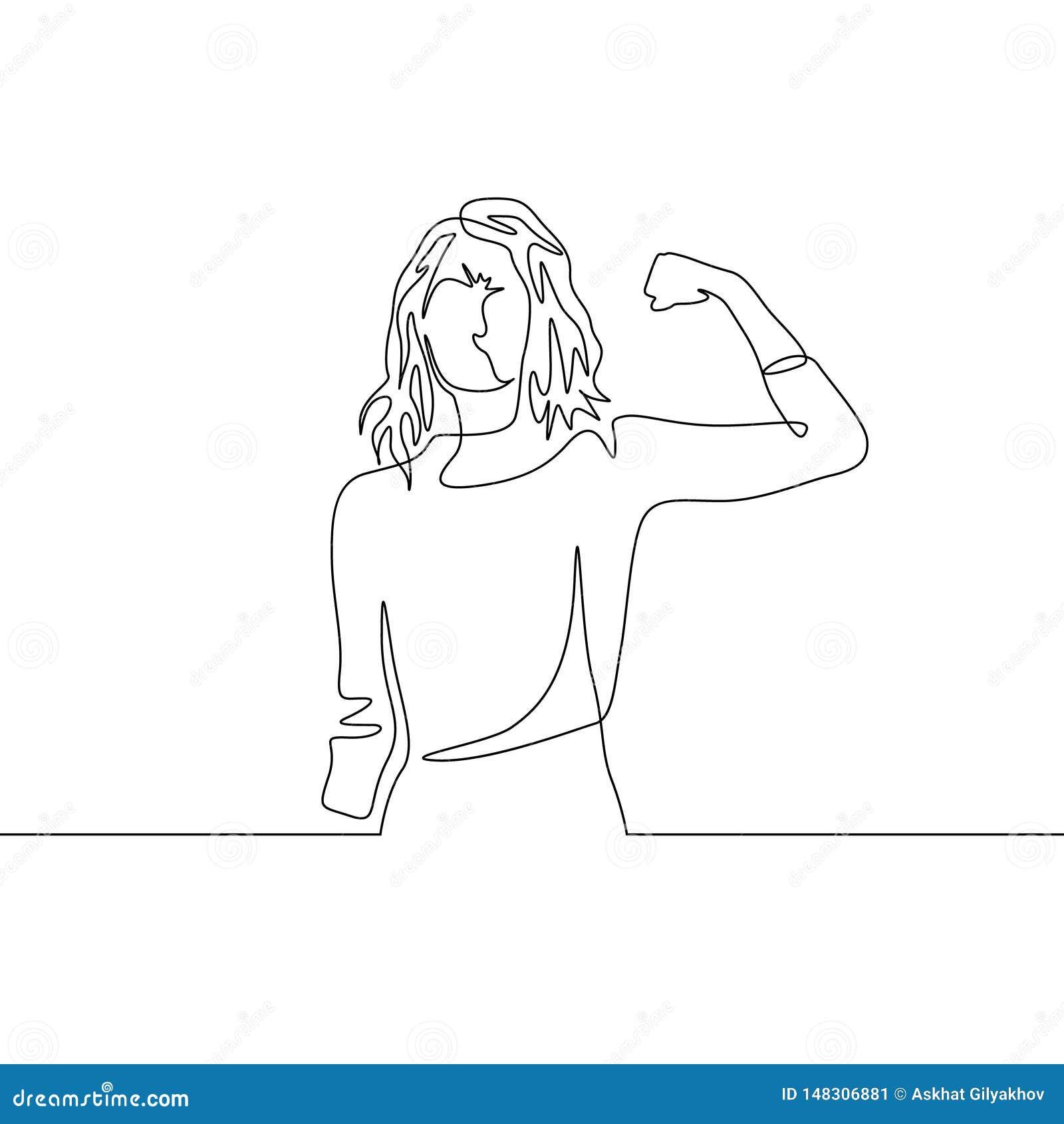 Ununterbrochenes Haarmädchen-Energiehaltung der Federzeichnung lange