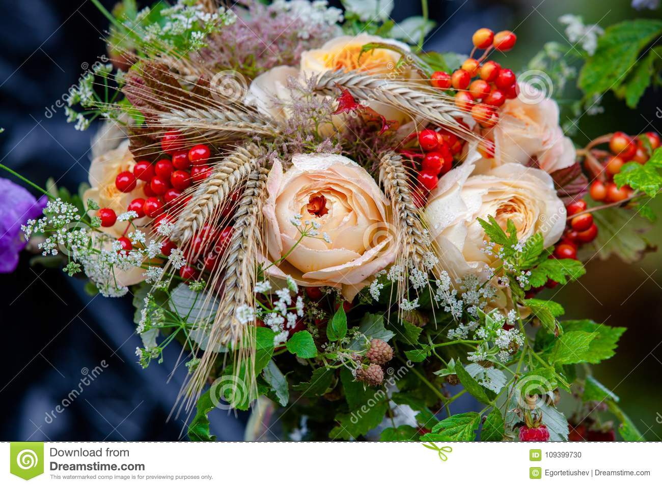 Unusual Bouquet Of Roses Spikelets And Rowan Stock Photo Image Of Green Flora 109399730