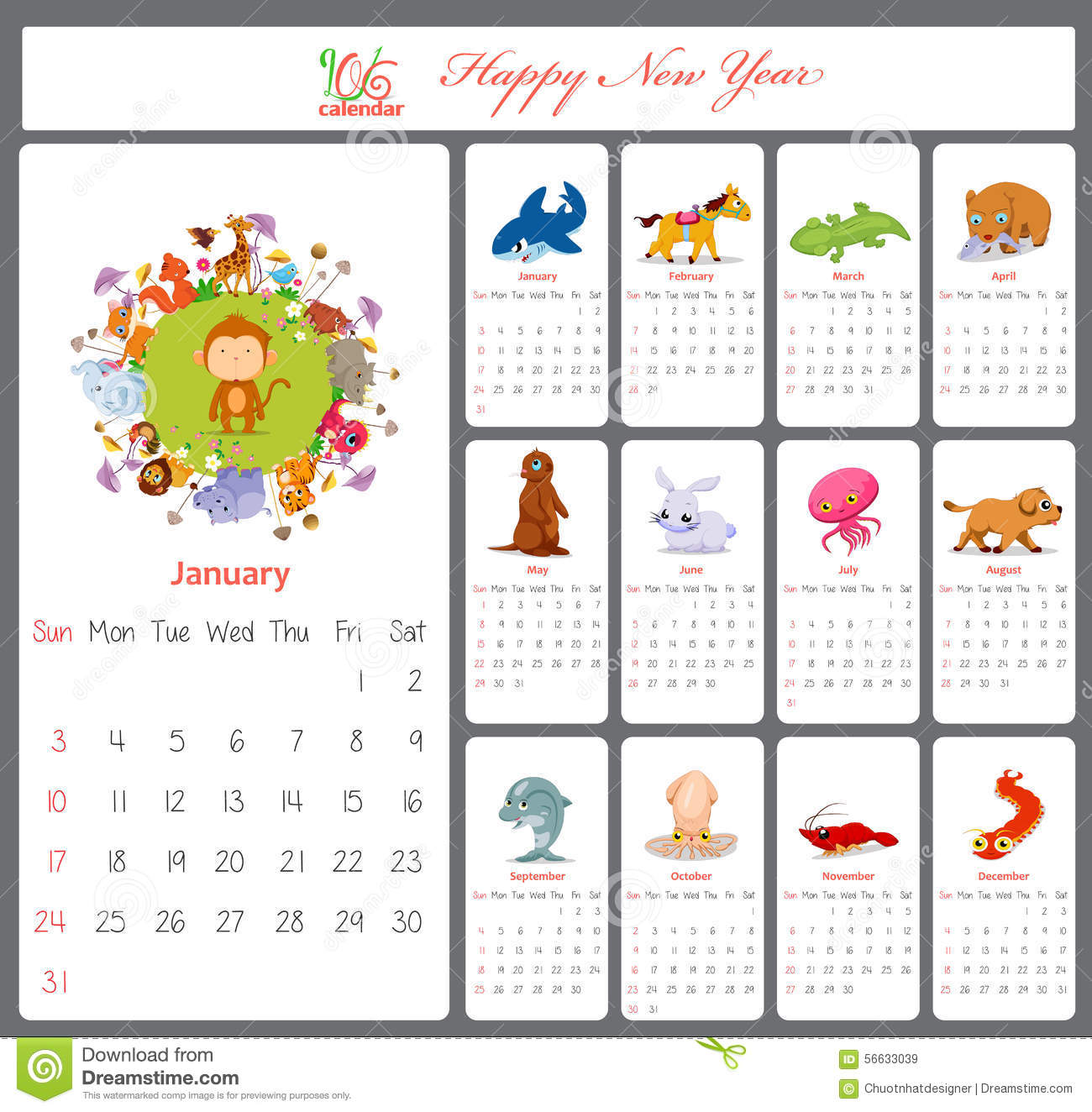 Unusual Calendar For 2016 With Cartoon And Funny Animals ...