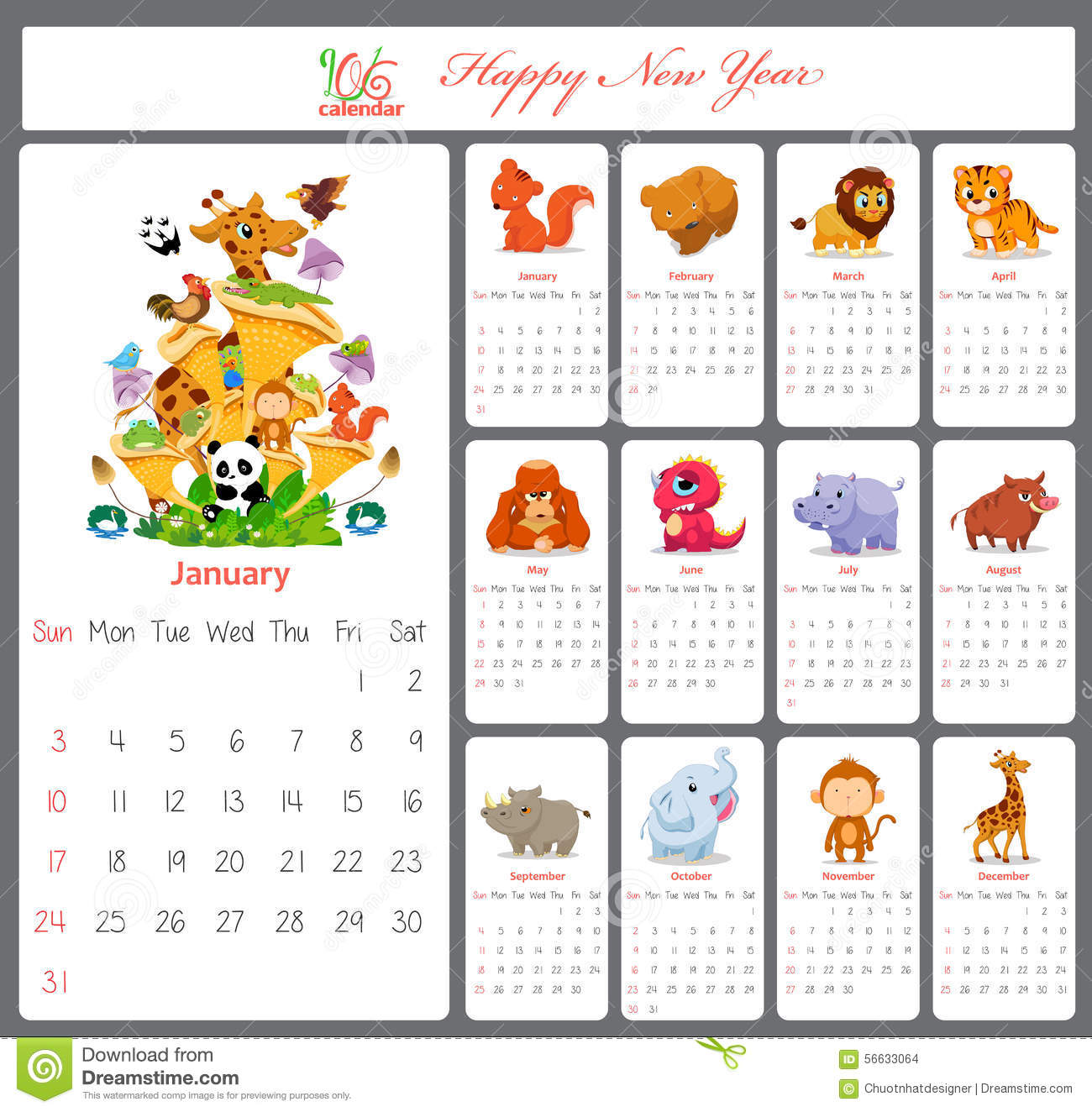 Blank Calendar Cute : Unusual calendar for with cartoon and funny animals