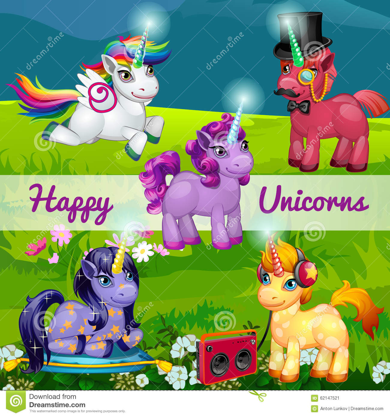 Cartoon 5 Characters : Unusual cartoon unicorns in a meadow set of five stock