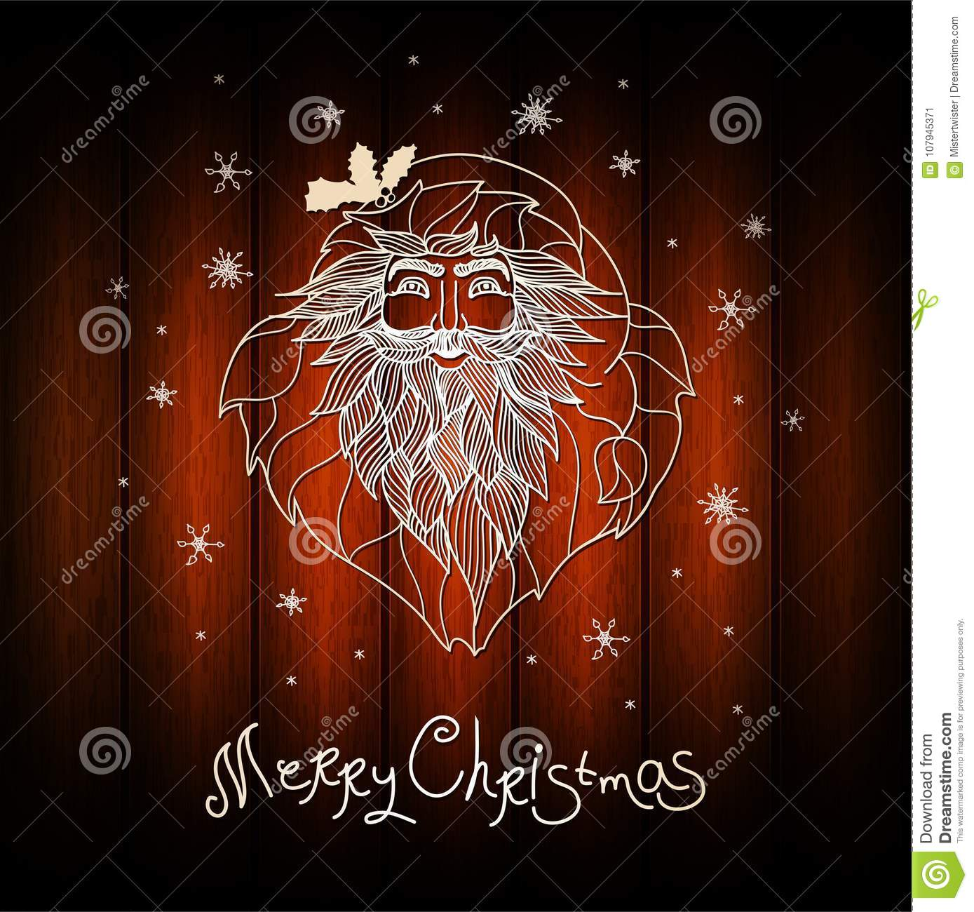 Unusual christmas card design wood background with hand drawn santa unusual christmas card design wood background with hand drawn santa claus xmas card with m4hsunfo