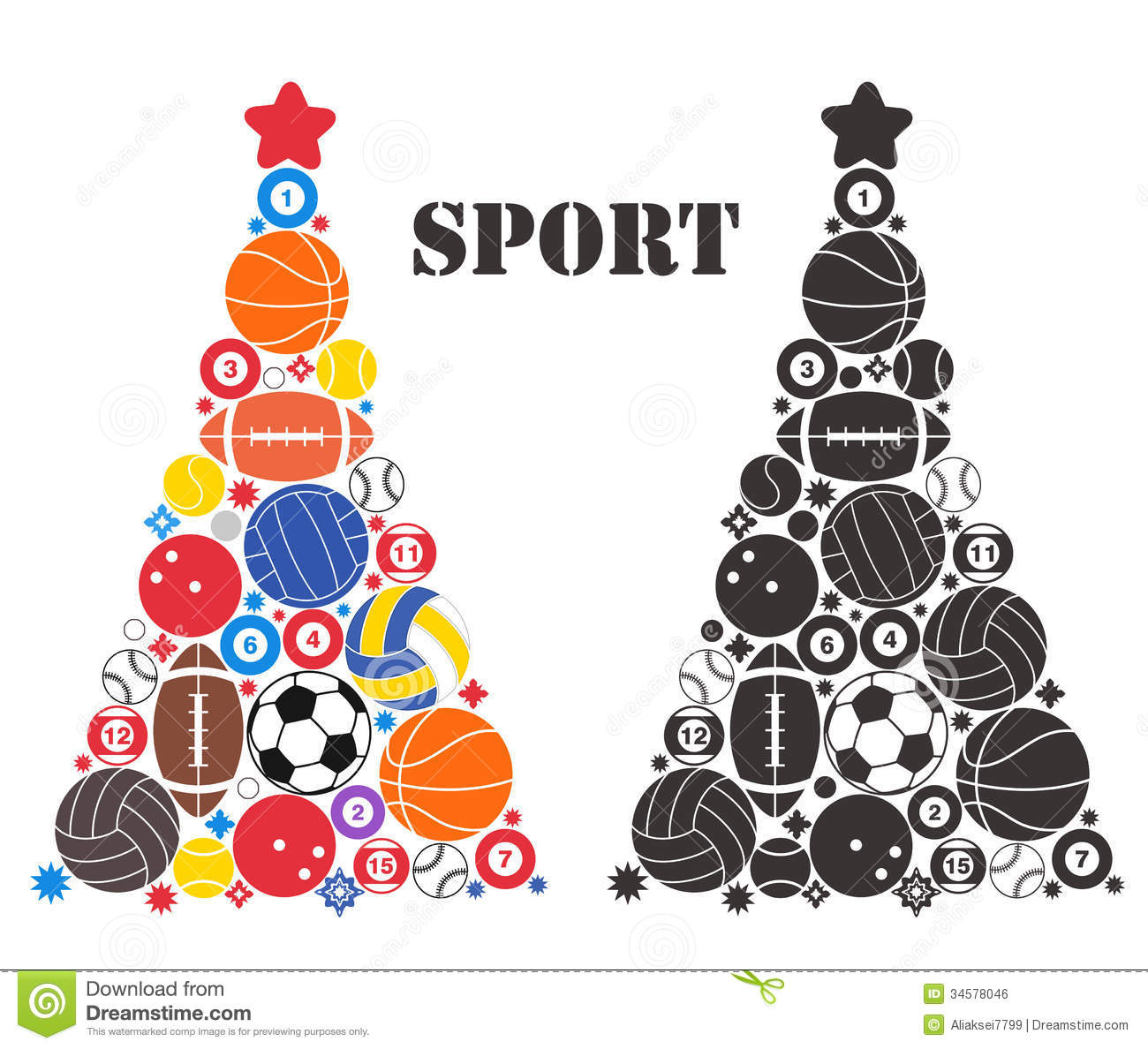 Christmas Sports Background.Unusual Christmas Tree Sport Stock Vector Illustration Of
