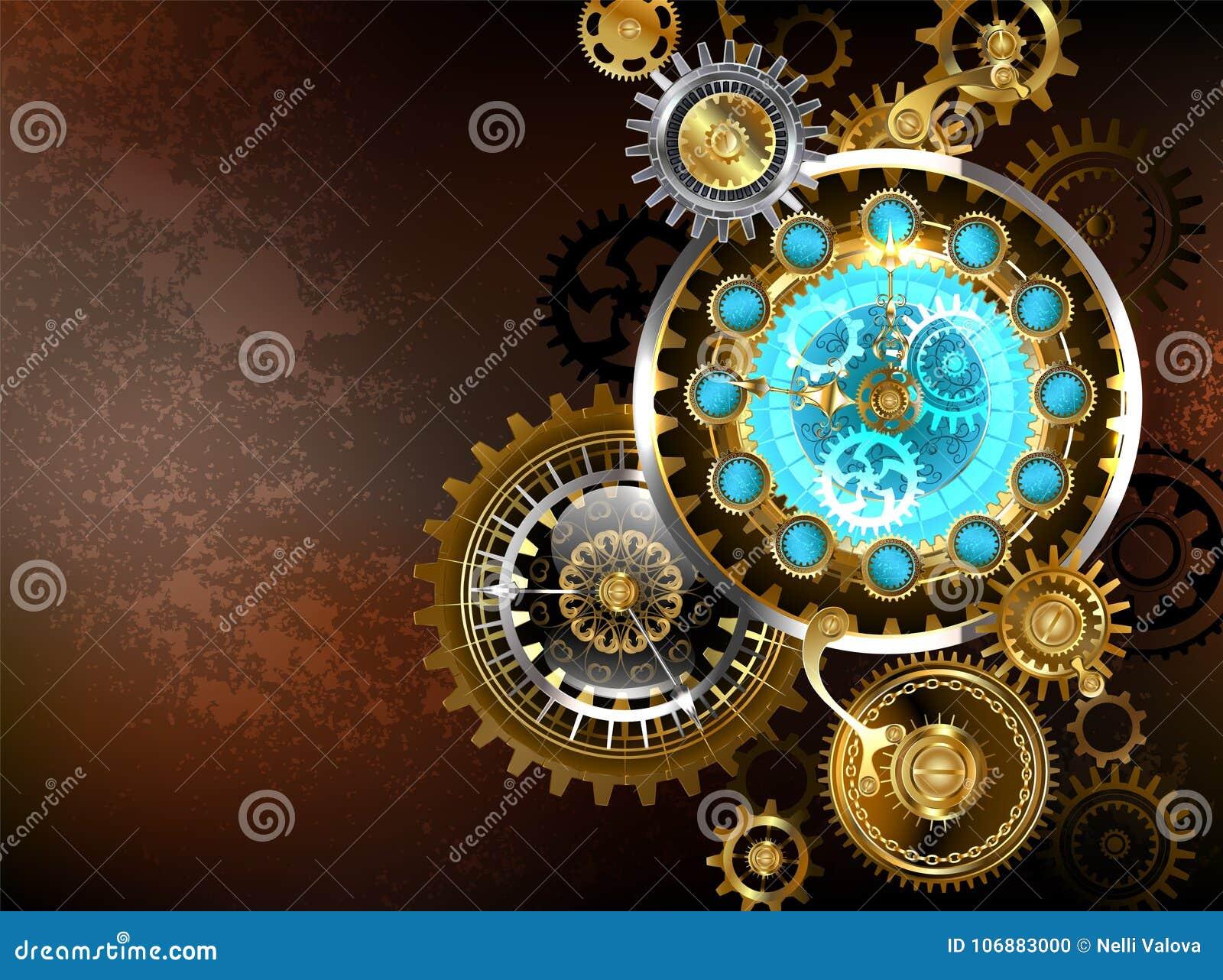 Unusual clock with gears Steampunk