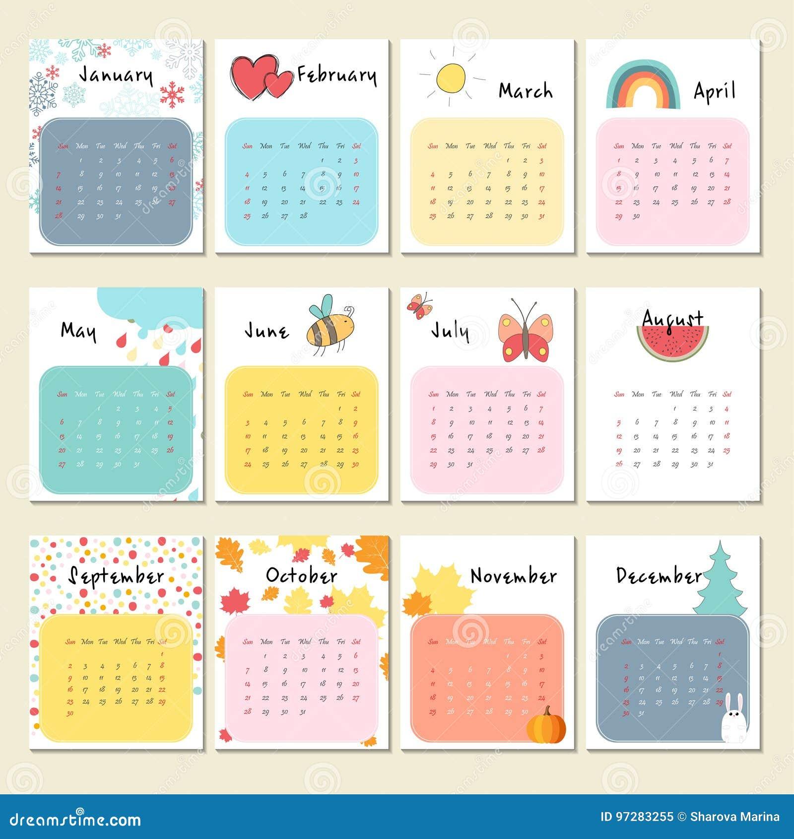 Cute Calendar Illustration : Unusual cute calendar for stock vector illustration