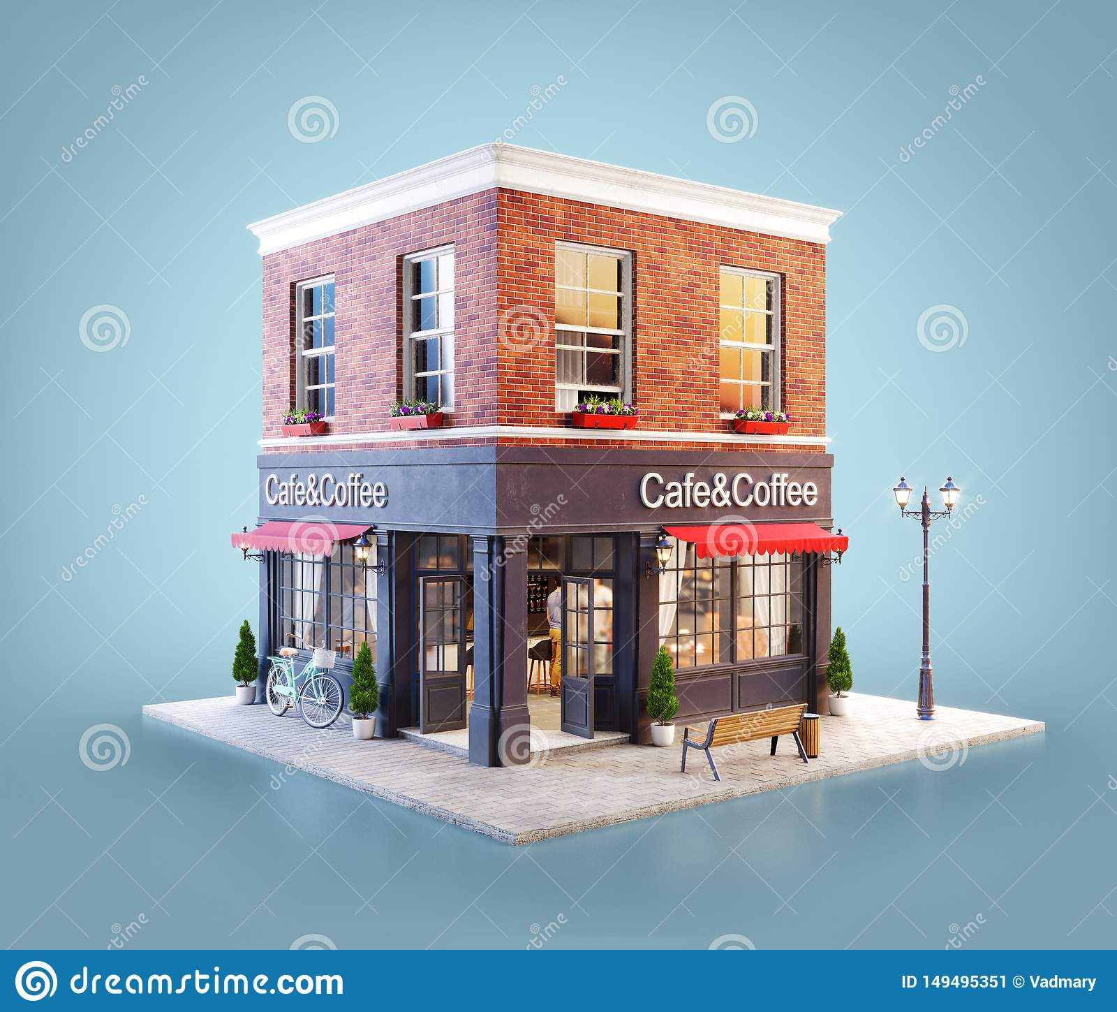Unusual 3d Illustration Of A Cozy Cafe Stock Illustration Illustration Of Cuisine Architecture 149495351