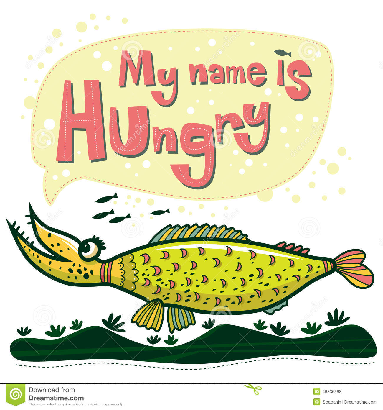 Unusual fish says that her name is hungry stock vector for Creative fish names