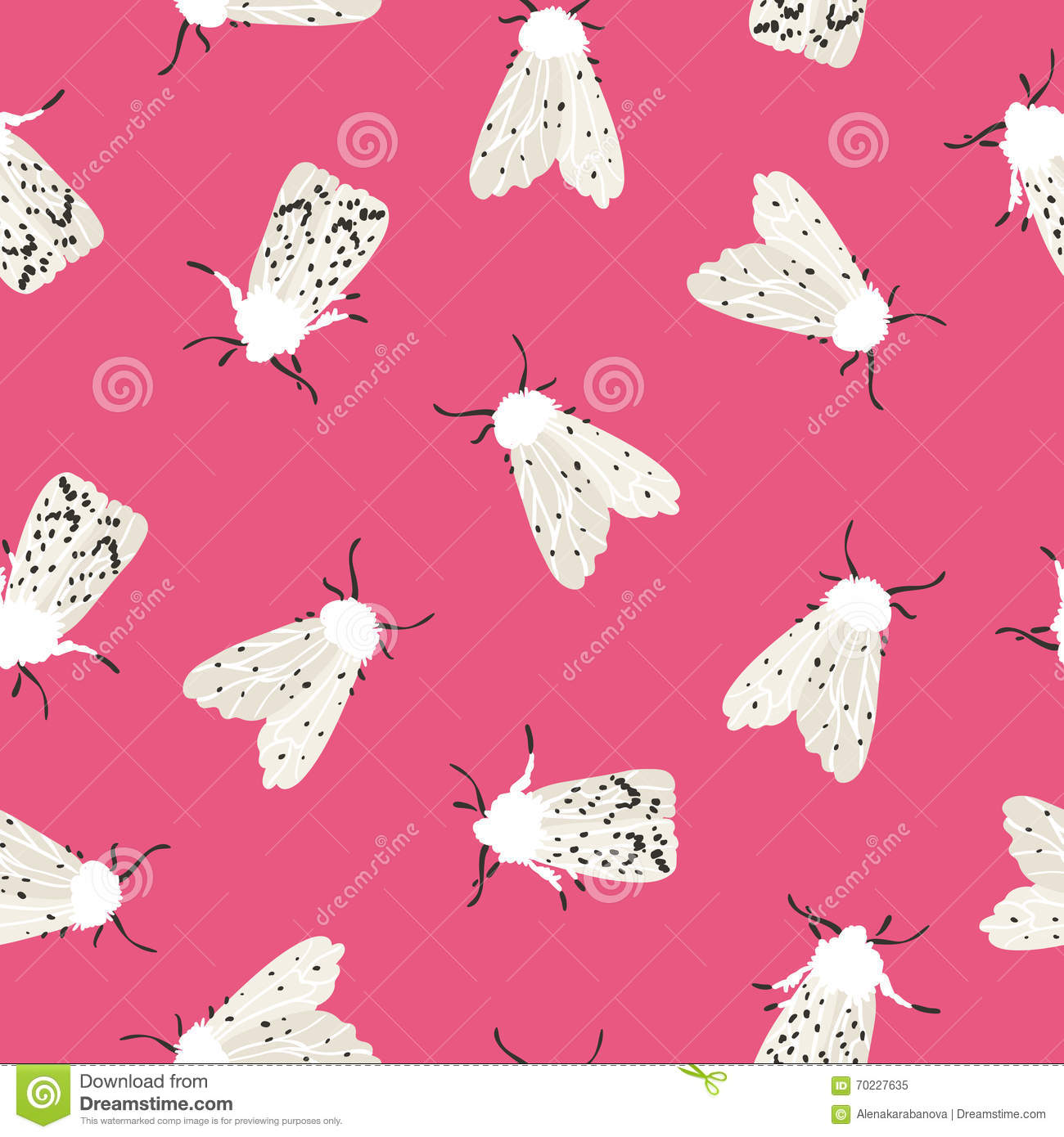 Unusual hipster seamless pattern with clothes moth.