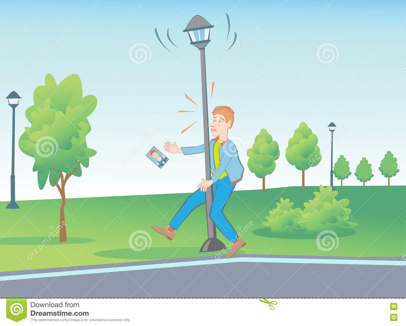 Unusual situations in the park with street lamp.