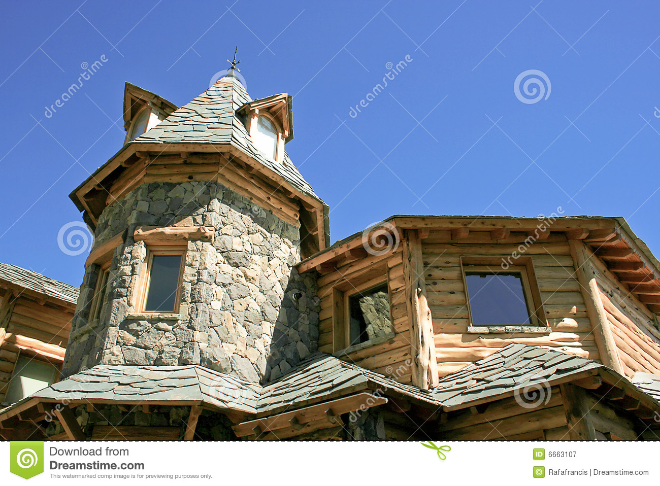 Unusual stone and timber house royalty free stock for Stone and timber homes