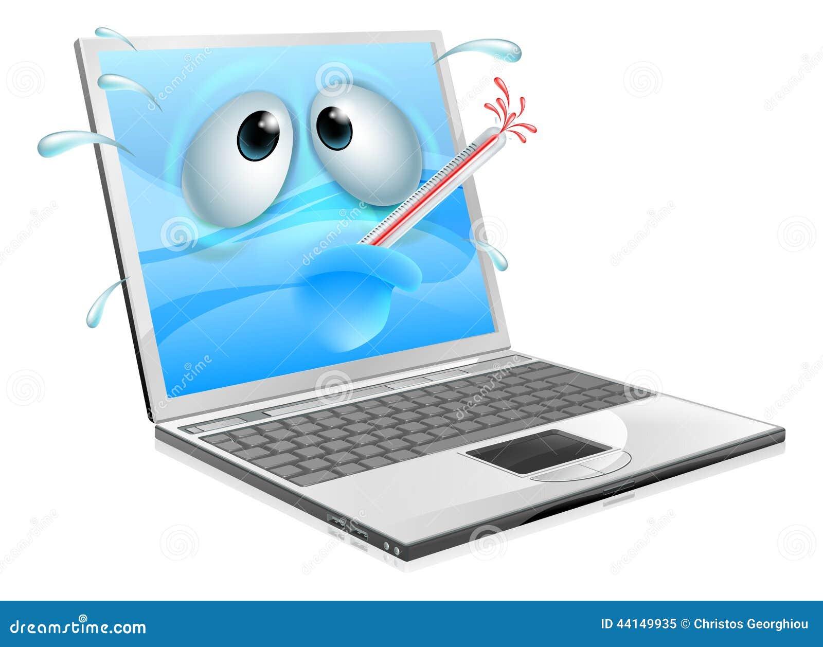 Broken computer cartoon