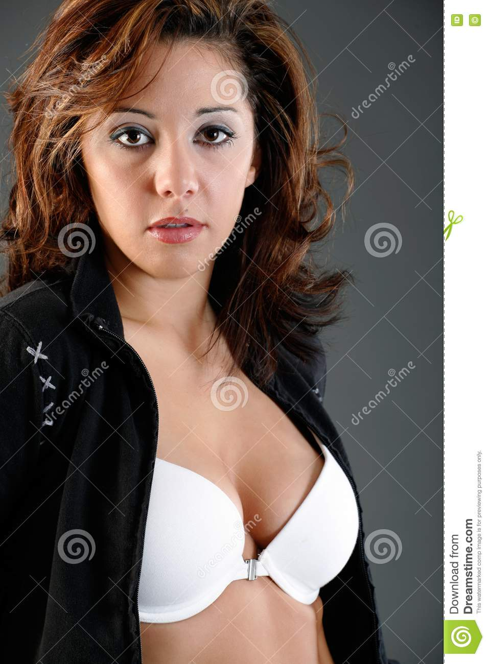 Unzipped Jacket Stock Photo Image Of Brunette Hairstyle