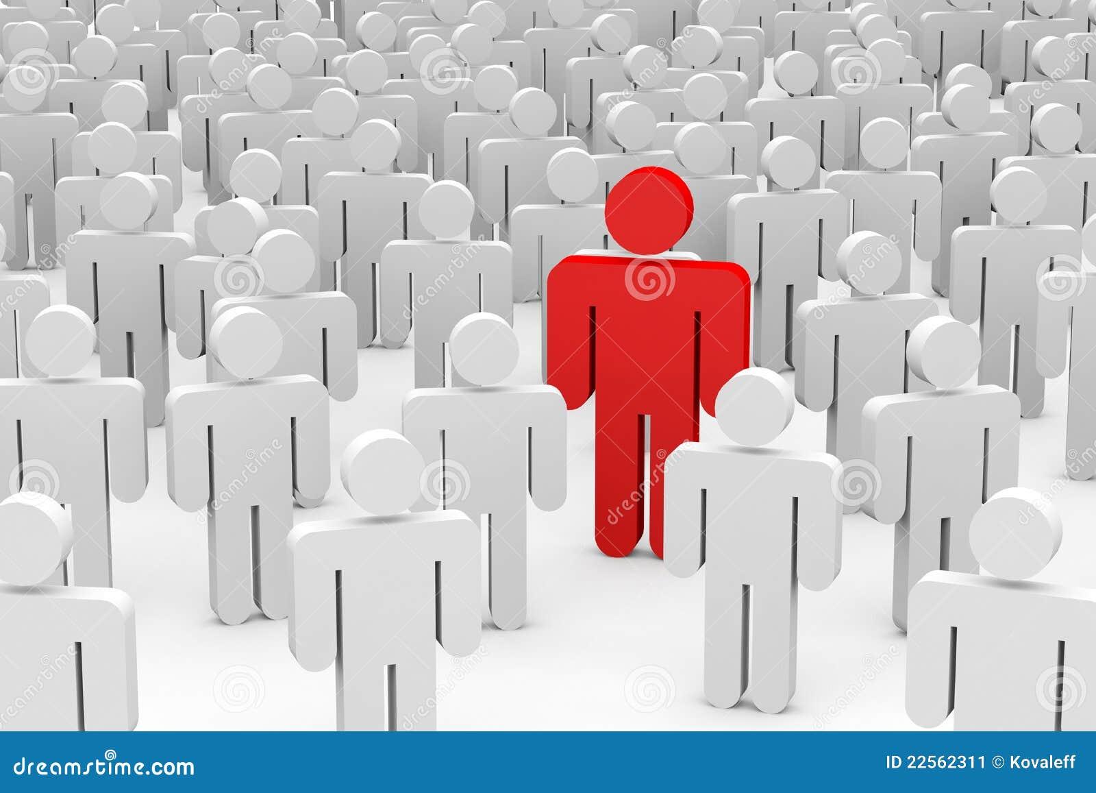 Uomini 3D in folla. Concetto di individualità.