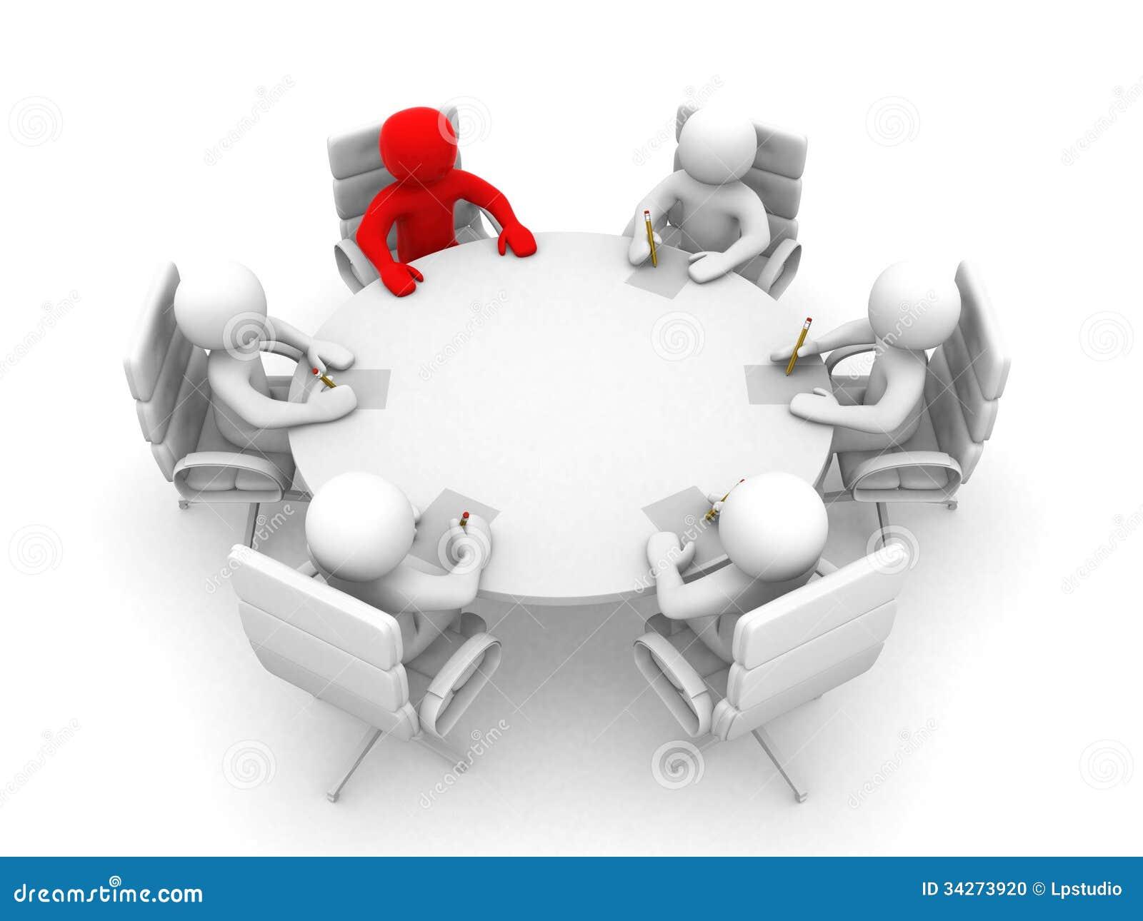 Uomini 3D Che Si Siedono Ad Una Tavola Rotonda E Hanno