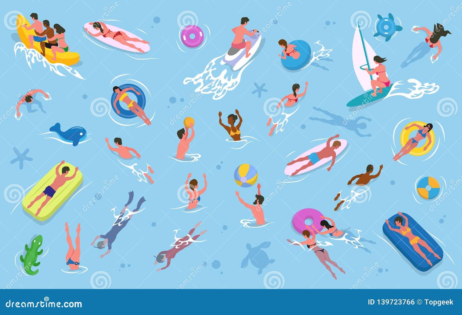 Uomini e donne che nuotano in acqua, ricreazione di estate
