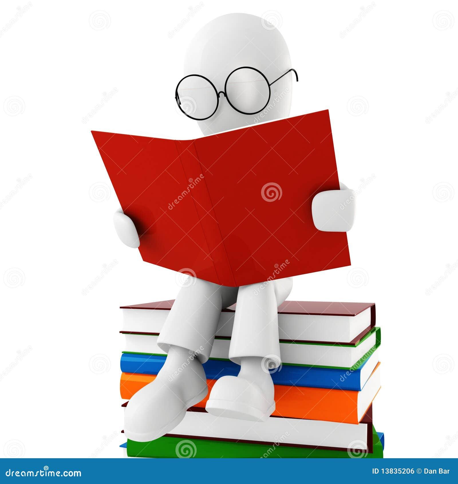 Uomo 3d che legge un libro illustrazione di stock - Libro da colorare uomo ragno libro ...