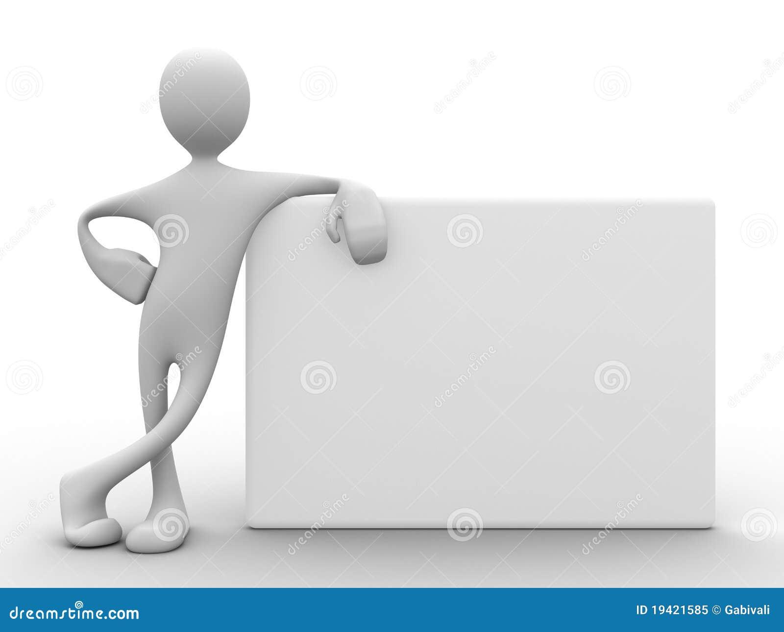 Uomo 3d che si appoggia sulla scheda bianca
