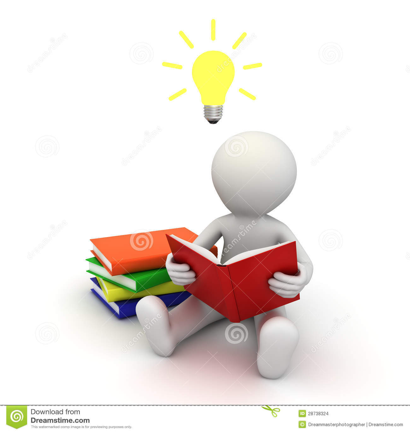 Uomo 3d che si siede sul pavimento e che legge un libro con la lampadina di idea sopra la sua testa