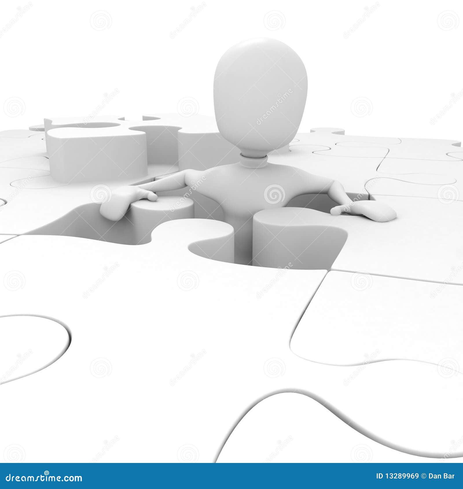 Uomo 3d e un puzzle illustrazione di stock illustrazione - Collegamento stampabile un puzzle pix ...