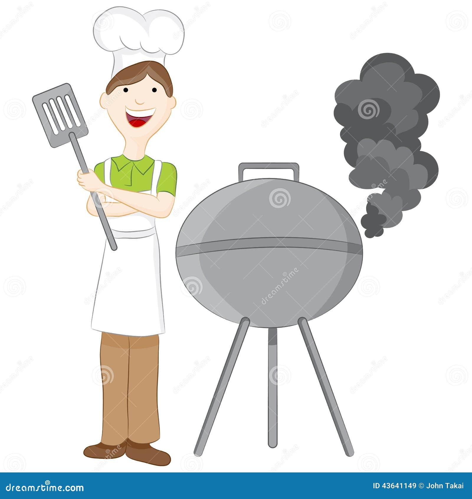 Uomo alla griglia del barbecue