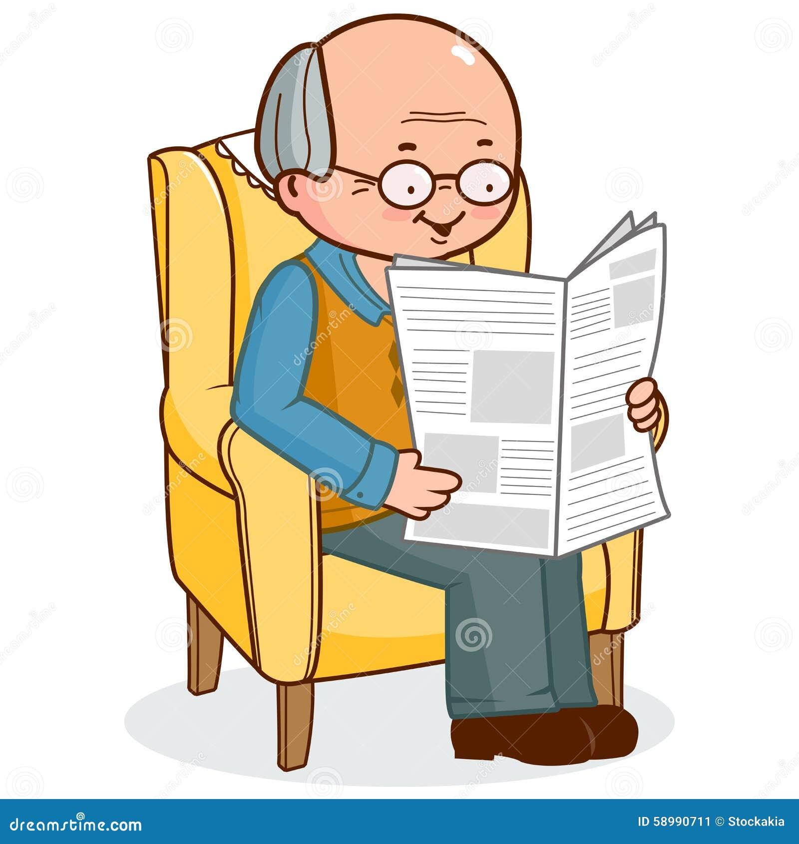 Nonno In Poltrona.Uomo Anziano Che Si Siede In Poltrona Che Legge Le Notizie