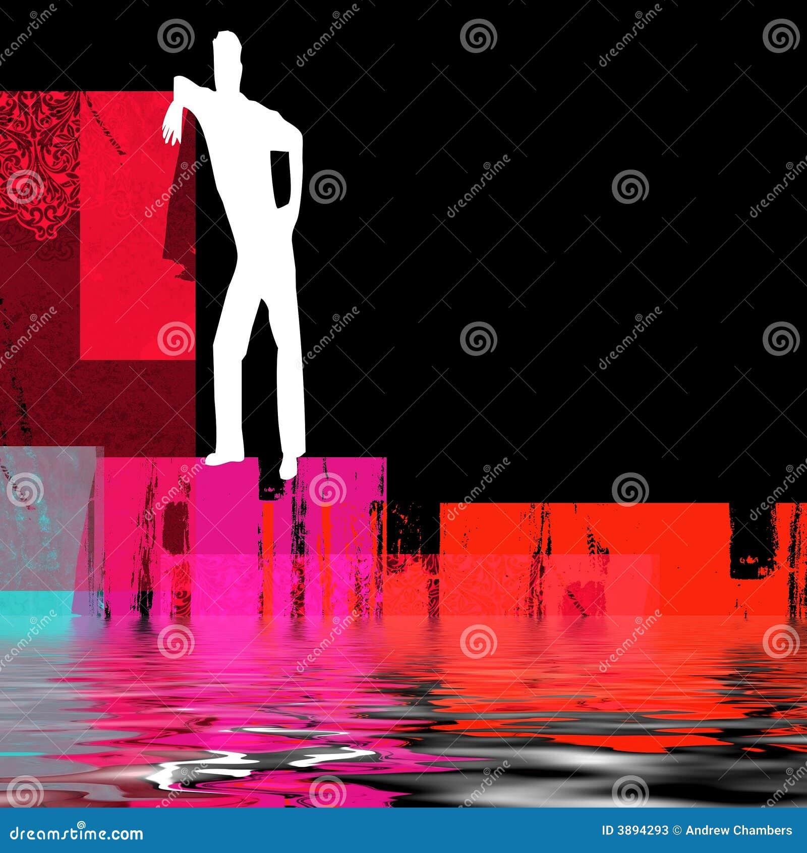 Uomo astratto al lato di acqua