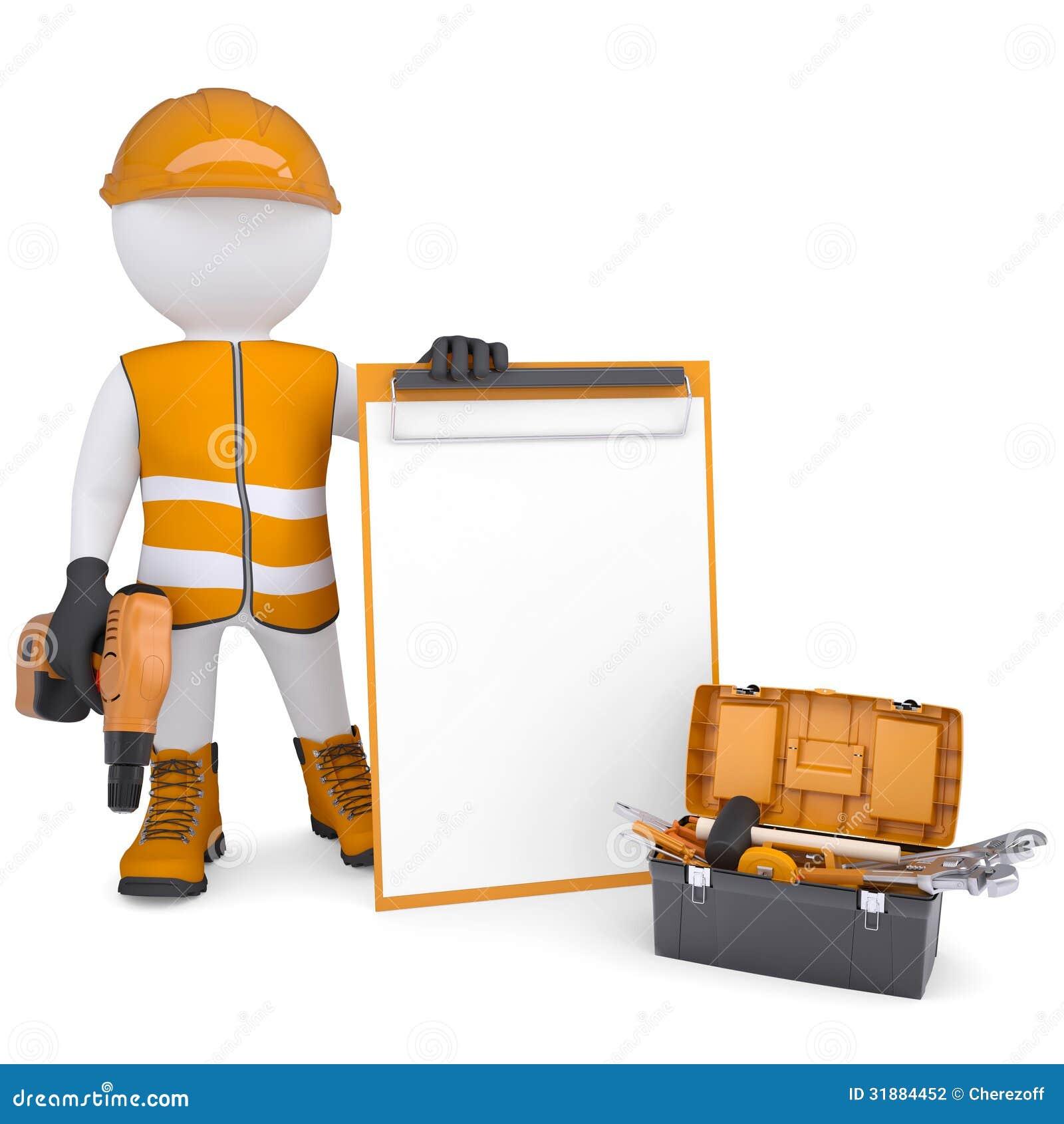 Uomo bianco 3d in camici con le liste di controllo e gli strumenti