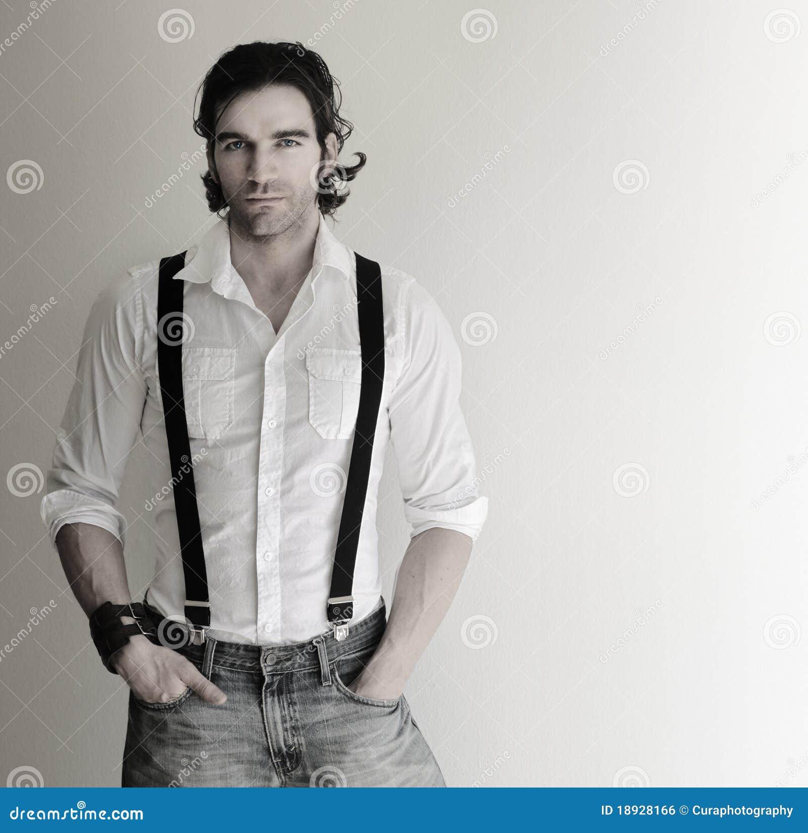 Matrimonio In Jeans Uomo : Uomo in bretelle fotografia stock immagine di ritratto