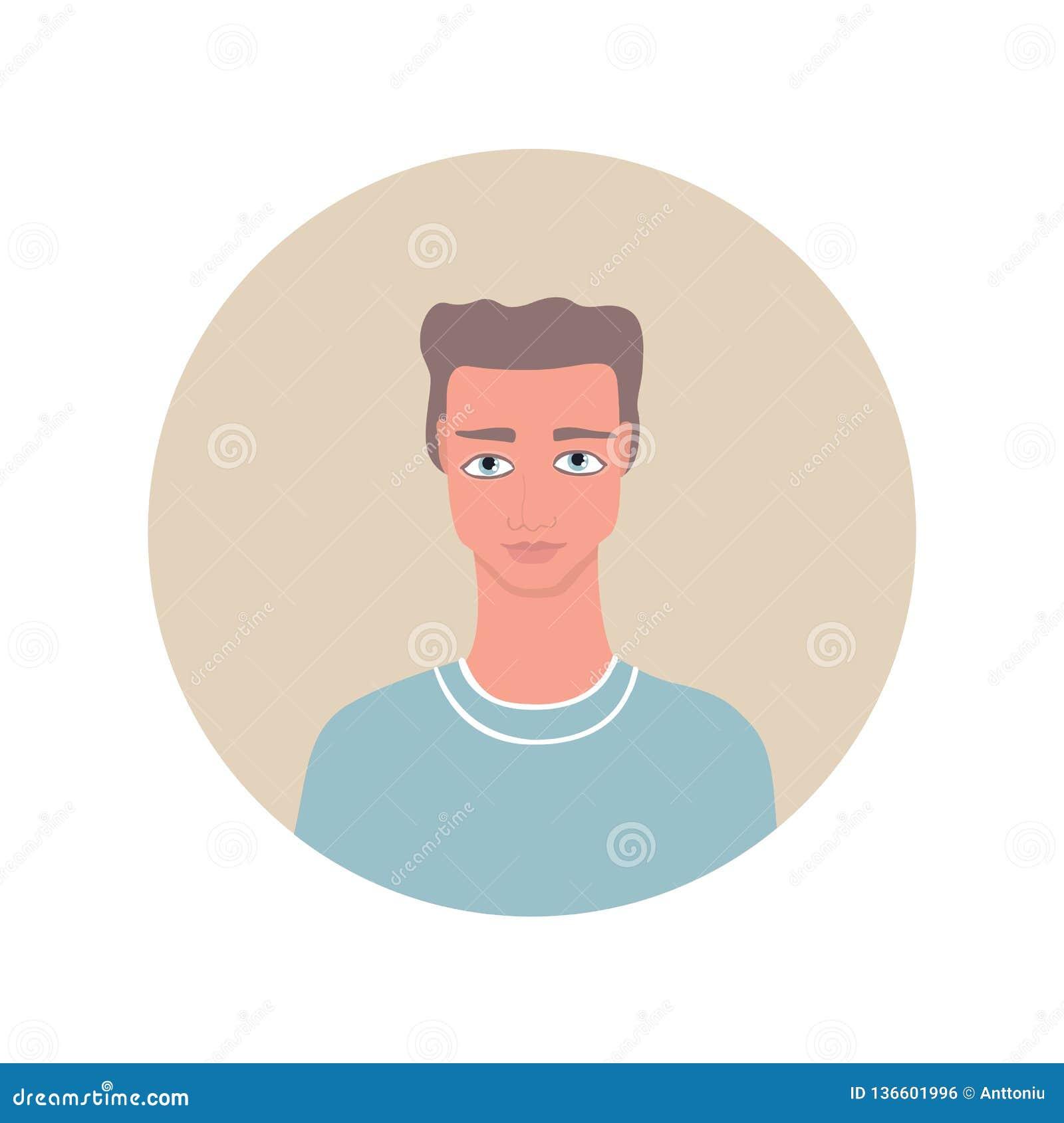 Uomo caucasico bello del giovane ritratto adulto con gli occhi azzurri marrone chiaro ondulati dell acconciatura che indossano l
