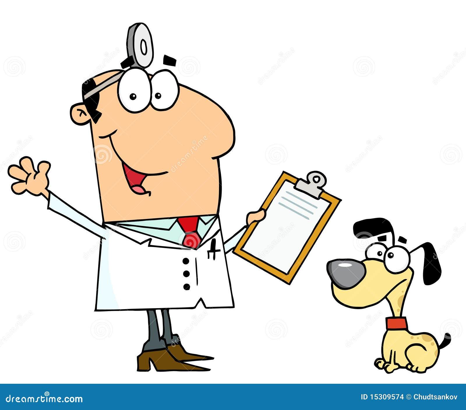 Immagini stock: uomo caucasico del veterinario del cane del fumetto