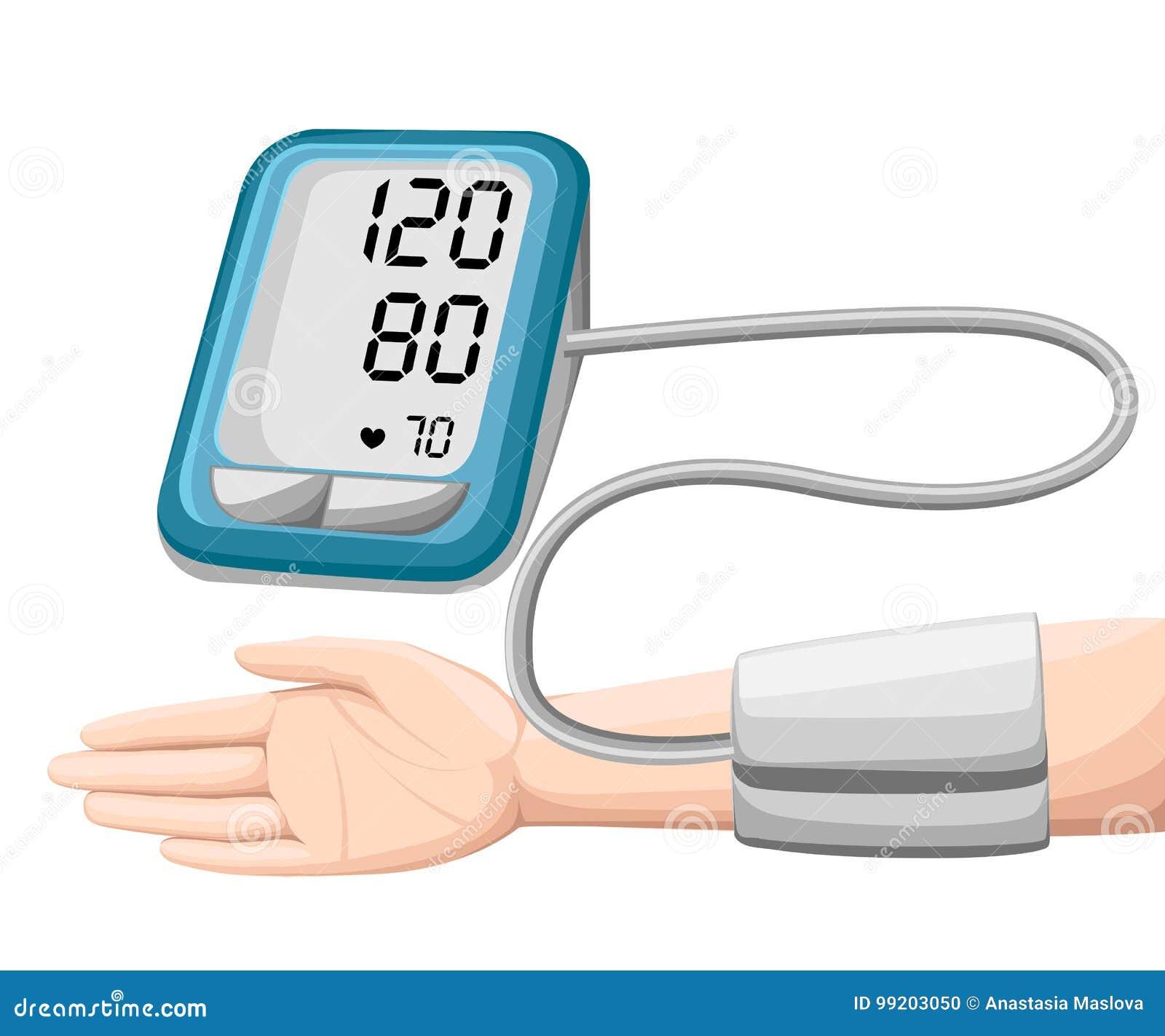 Uomo Che Controlla Pressione Sanguigna Arteriosa Tonometer..