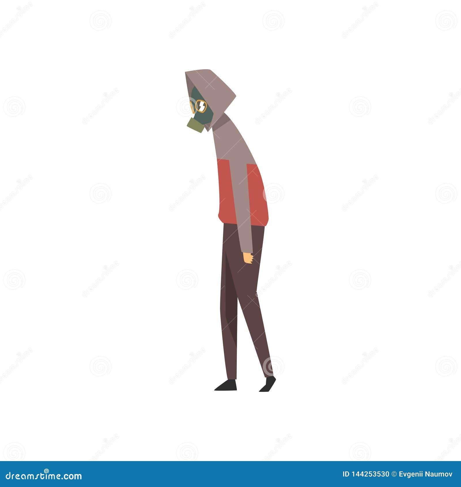 Uomo che indossa la maschera antigas protettiva contro l inquinamento atmosferico, la gente che soffre dall illustrazione industr
