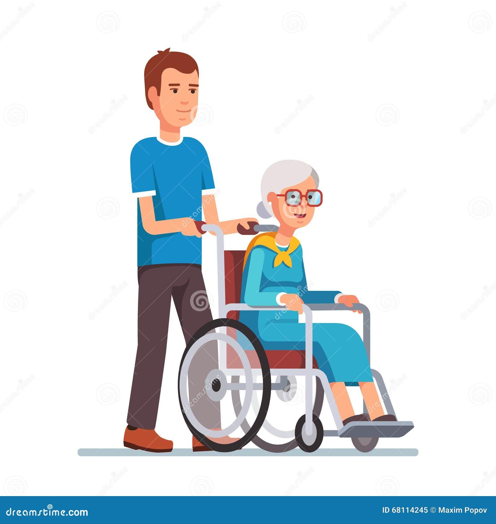 Uomo Che Passeggia Con Sua Nonna In Sedia A Rotelle