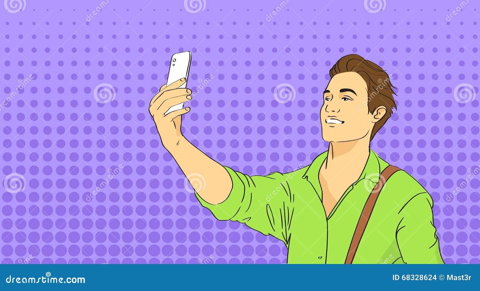 Uomo che prende la foto di Selfie sullo schiocco Art Colorful Retro Style dello Smart Phone