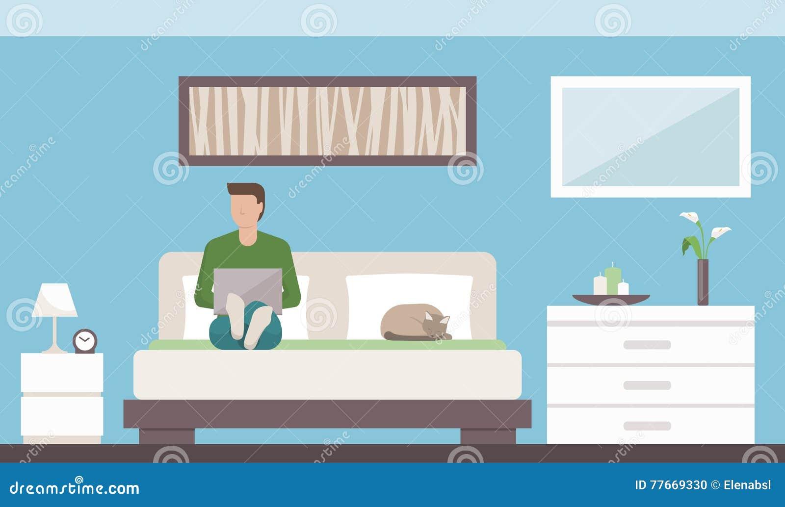 Uomo che si rilassa nella camera da letto illustrazione vettoriale immagine 77669330 - Letto che si chiude ...