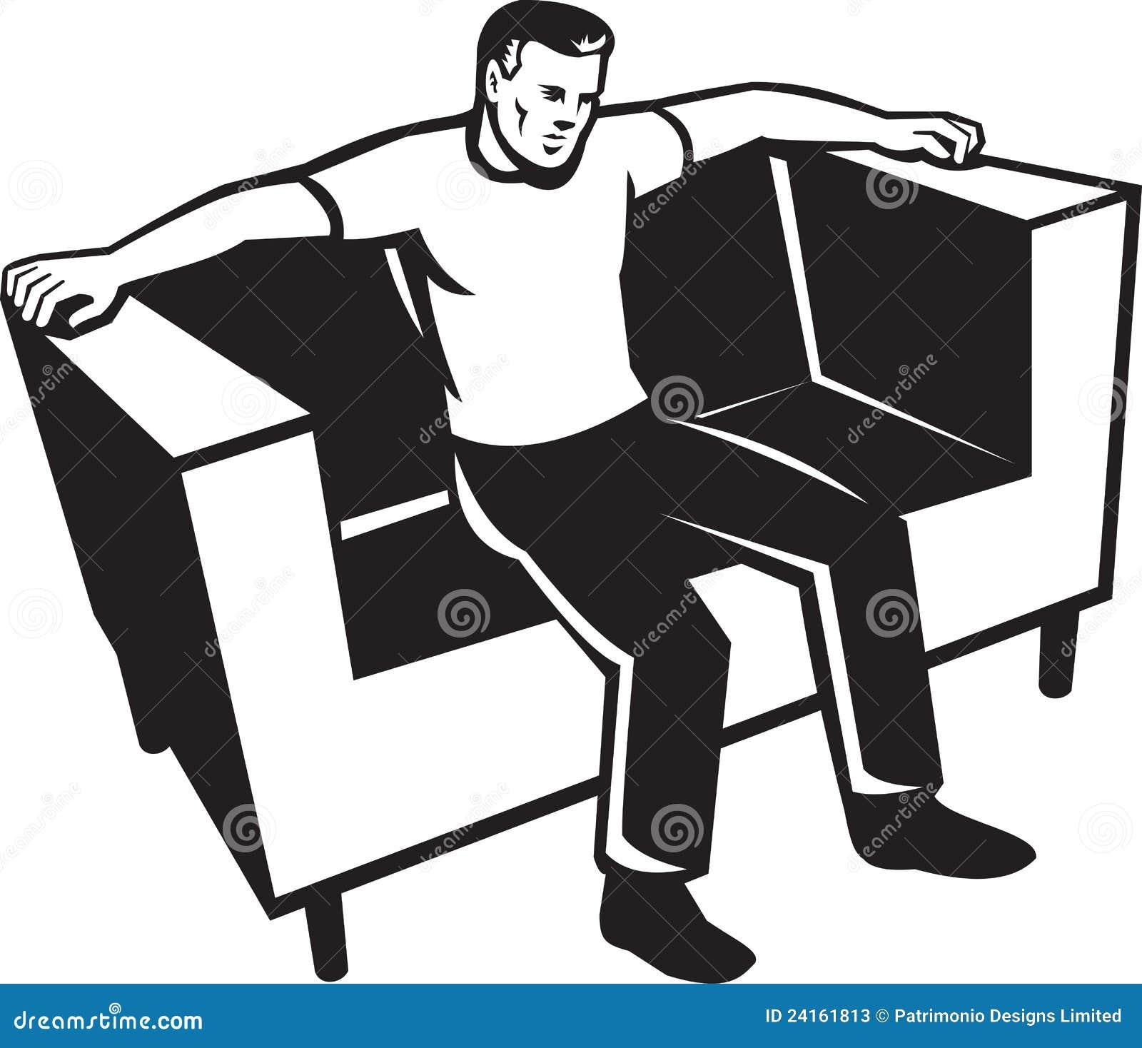 Uomo che si siede sulla presidenza dello strato